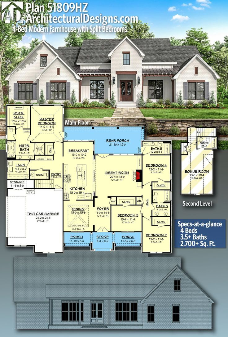 Plan 51809hz 4 Bed Modern Farmhouse With Split Bedrooms House Plans Farmhouse Modern Farmhouse Plans Dream House Exterior