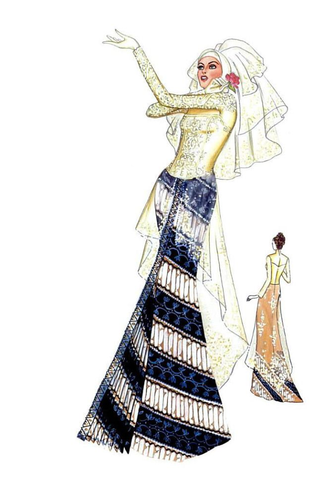 Sketch of Modern Kebaya with Batik