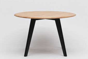 Elmo Mesa Dining Table code:DT1026dimensions:1200dia 760hmaterials:Solid FSC Certified American White Oakcolours:Black, American White Oakpackaging:0.25m3Description:Elmo Mesa Dining Table #OBODO #FURNITUREDESIGN