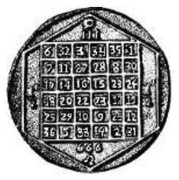 ELEVENTY ONE AND THE MAGIC SQUARE OF THE SUN  by Marty Leeds. There are similar magic squares for Saturn, Jupiter, Mars, Venus, Mercury and the Moon