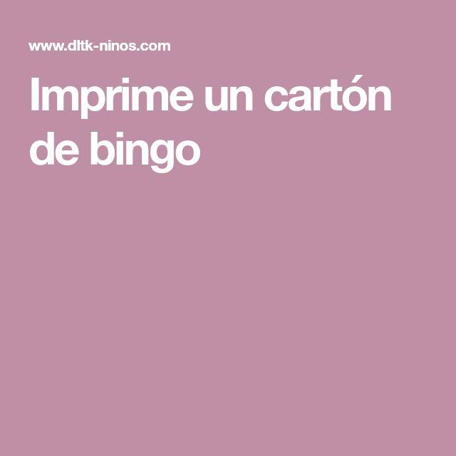 Imprime un cartón de bingo