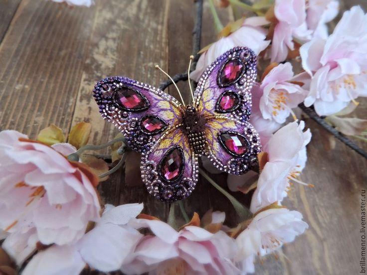 """Купить Брошь-кулон """"бабочка из сказочного леса"""" 3 - фуксия, сиреневый, розовый, малиновый, бабочка"""