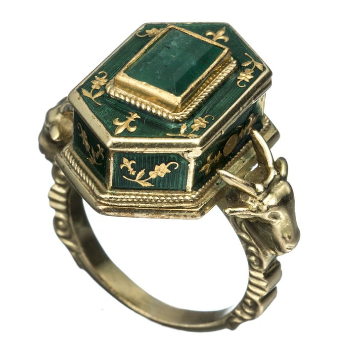 1800's Victorian 18k Gold with Emerald and Enamel Poison Ring                                                                                                                                                                                 More