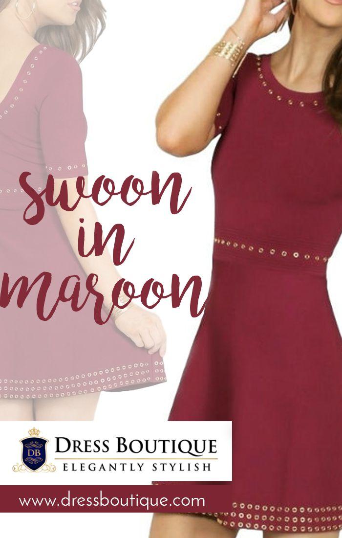 Beautiful, Elegant Tailored Maroon Skater Dress