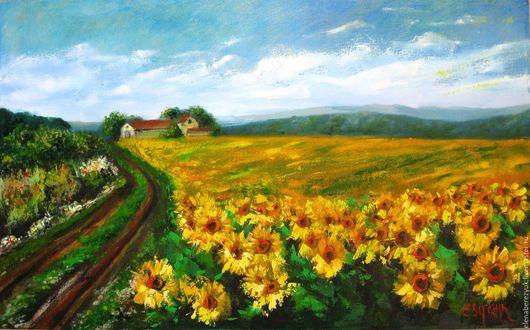 Пейзаж ручной работы. Ярмарка Мастеров - ручная работа. Купить картина маслом на холсте цветы подсолнухи пейзаж южный солнечный. Handmade.