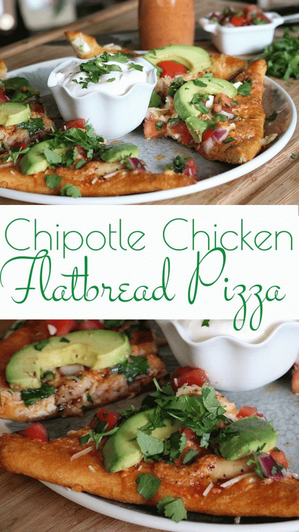 Chipotle Chicken Flatbread Pizza: Chili-rubbed chicken on top on this four-cheese flatbread pizza that is drizzled with a flavorful chipotle pesto and adorned with a homemade pic de gallo.