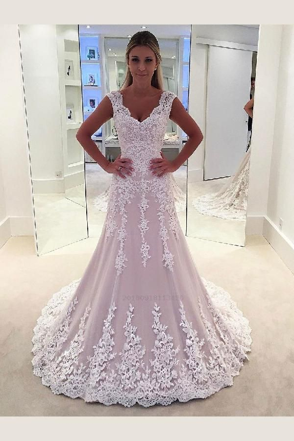 Custom Made Morden Wedding Dress Lace Lace Appliqued Bridal Wedding Gowns,Sheath Wedding Dresses