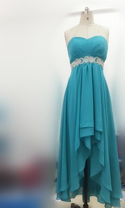 High Low Turquoise Blue Bridesmaids Dresses