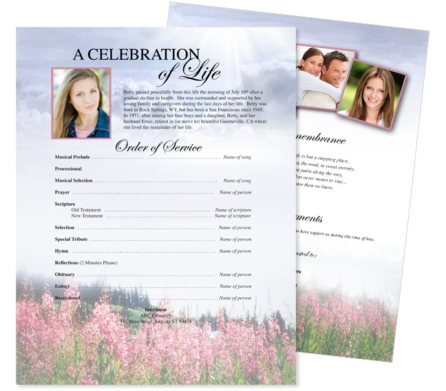 Best Funeral Memorial Stationary Flyer Sheets Templates Images On
