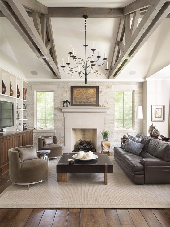 beautiful: Ideas, Expo Beams, Living Rooms Design, Stones Wall, Traditional Family Rooms, Families Rooms Design, House, Photo, Traditional Families Rooms