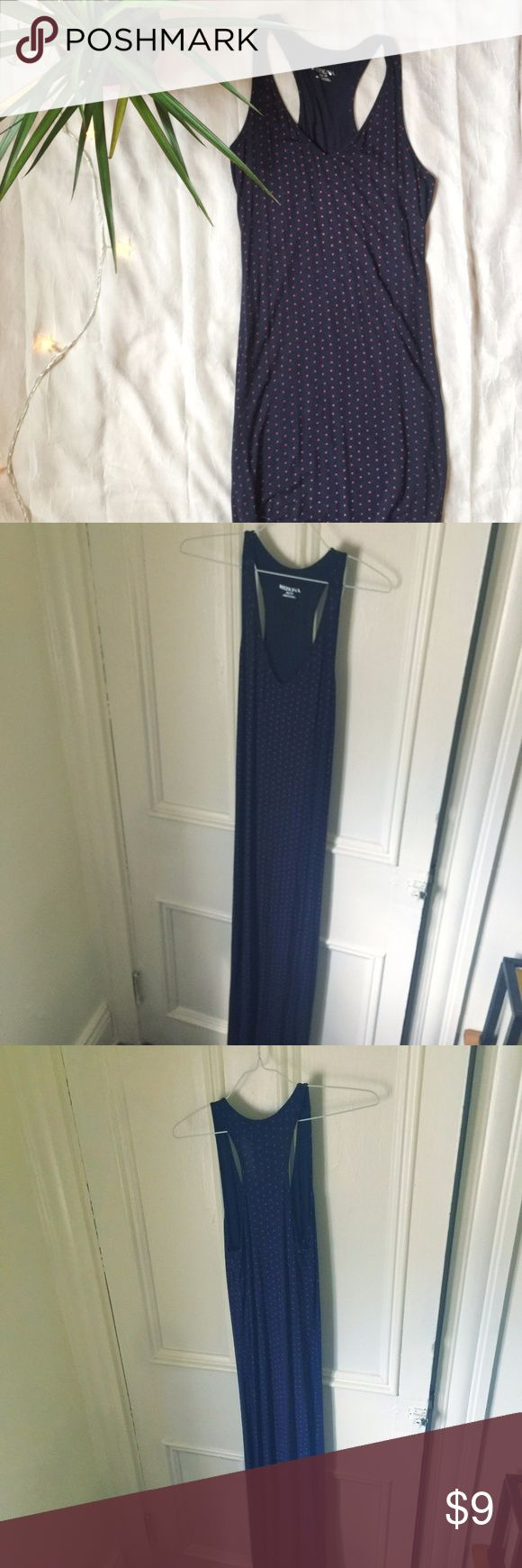 Merona blue ankle-length maxi dress Size small/petite, this curve-hugging dress is size XS and is navy blue with small red crosses. Perfect condition. Merona Dresses Maxi