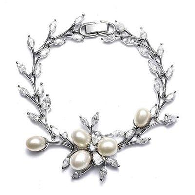 Freshwater Pearls and Cubic Zirconia Leaves Vine Bridal Bracelet
