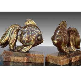 Strikingly Idea Bird Bookends. Art deco bookends with fishes  Dinanderie patina 46 best ART DECO Bookends images on Pinterest art
