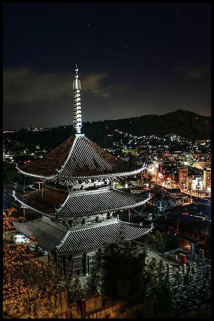 Saikoku temple's three-Storied Pagoda in Onomichi, Hiroshima, Japan