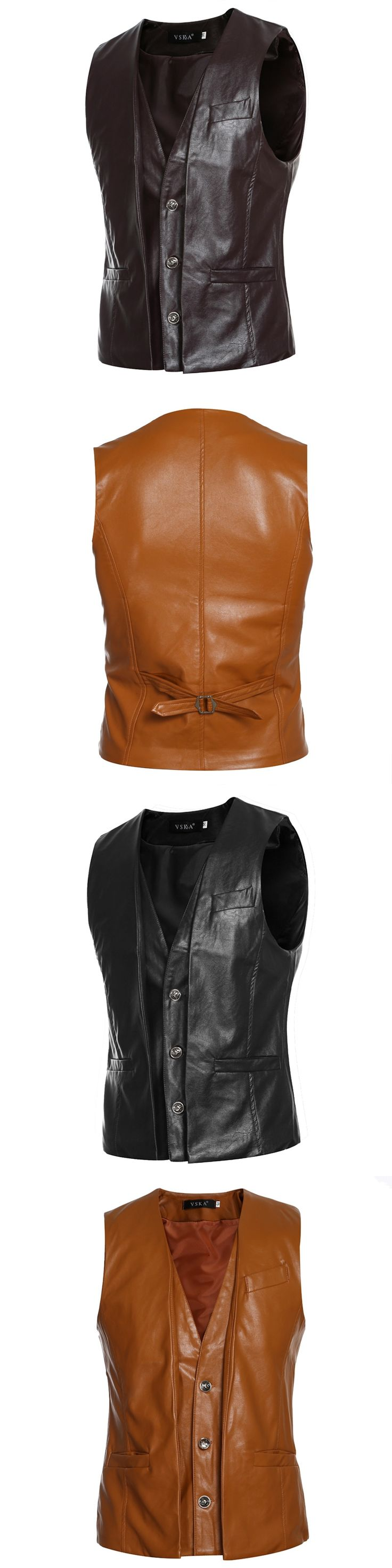 6 styles Men's PU Vests 2017 New Arrival Brand Men Sleeveless Jacket Male Casual PU Leather Vest Slim Men's Vest Waistcoat MQ489