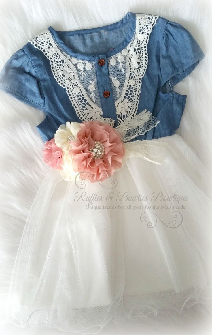 Denim & Lace Dress With Rope Tie At Waist