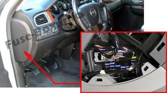 Chevrolet Suburban (GMT900; 2007-2014) < Fuse Box location ... 2006 chevy silverado fuse panel diagram Pinterest