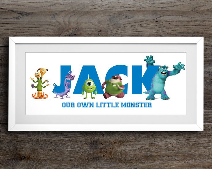 Excited to share the latest addition to my #etsy shop: Monsters Inc Art, Disney Art, Personalised Name Sign, Monsters Inc, Nursery Wall Art, Disney Personalised Gift, Name Plaque, Nursery Decor