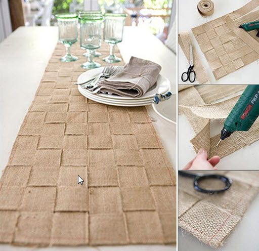 DIY jute table runner. I would love to see a genius like @Leigh Pearce take this and run with it. It would be fabulous, I'm sure!