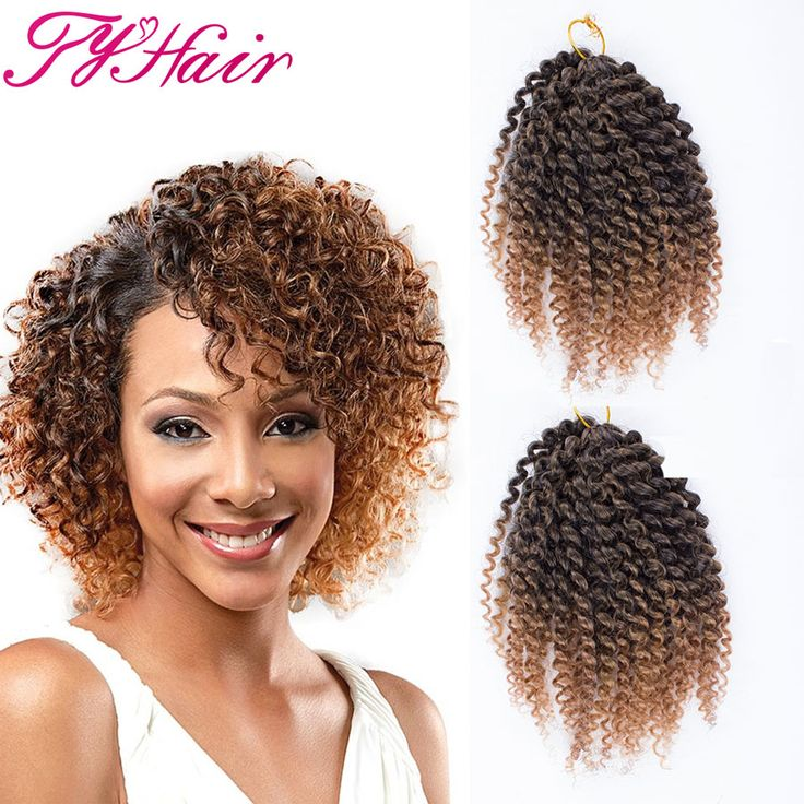 Ombre 8inch 3pcs/set Marlybob Crochet Braids Hair Curly Synthetic Braiding Hair Crochet Braid Hair Extensions Box Styles -- More info could be found at the image url.