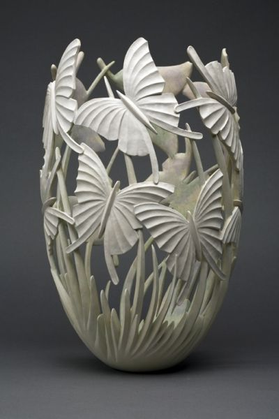 Butterfly Carved Vase