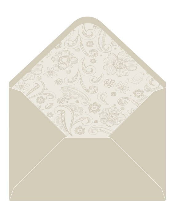 CocoCards: The luxurious touch - hand lined envelopes - doodle flowers invite