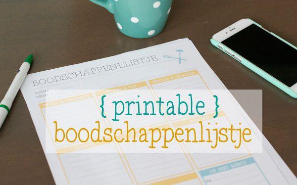 Gratis printable: boodschappenlijstje | zo raak je geen papiertjes meer kwijt, alles staat overzichtelijk bij elkaar | via BrendaKookt