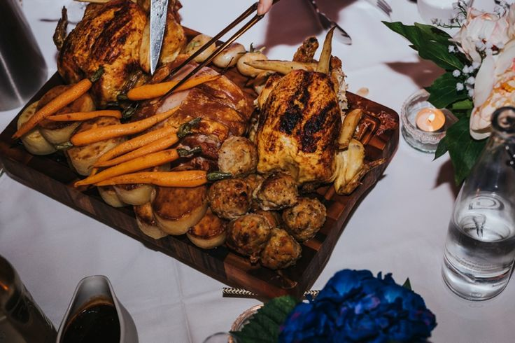 Doesn't this roast look incredible? By @GGWeddings at @RivervaleBarn. Photo by Benjamin Stuart Photography #weddingphotography #weddingbreakfast #roast #familystyle #dinnertime #gallopinggourmet #rivervalebarn