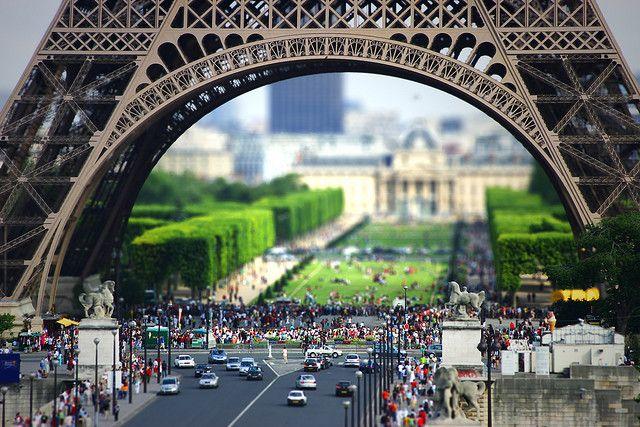 Eiffel Tower, Paris, France #britairtrans #tiltshift
