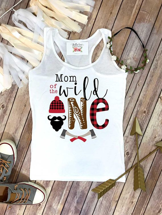 1f8a832bfd5 Mom of the Wild One. This awesome Lumberjack Theme Birthday design features  a black beard with a lumberjack beanie and buffalo plaid accents and some  ...