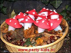 Paddestoelen rood met witte stippen - Traktatie snoep, Traktaties - En nog veel meer traktaties, spelletjes, uitnodigingen en versieringen voor je verjaardag of kinderfeest op Party-Kids.nl