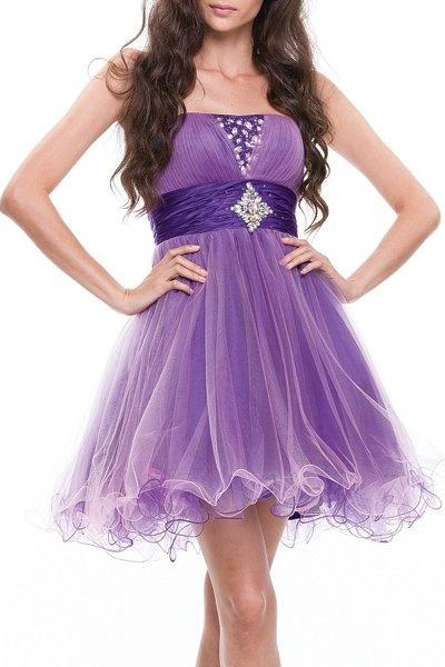 Purple/Pink Tulle Dress Poofy Short Strapless Beading Empire Waist $147.99