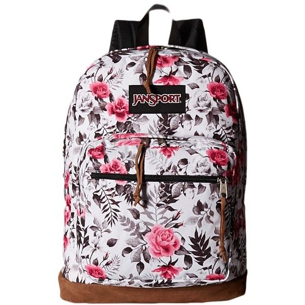 JanSport Right Pack Expressions (Multi Black/White Graphic Floral)... ($64) ❤ liked on Polyvore featuring bags, backpacks, jansport backpack, laptop backpack, laptop rucksack, backpack laptop bag and padded laptop bag