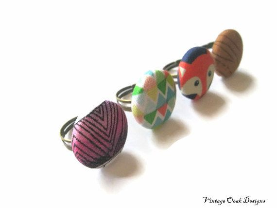 fabric button ring adjustable band  rustic by VintageOoakDesigns, $12.00
