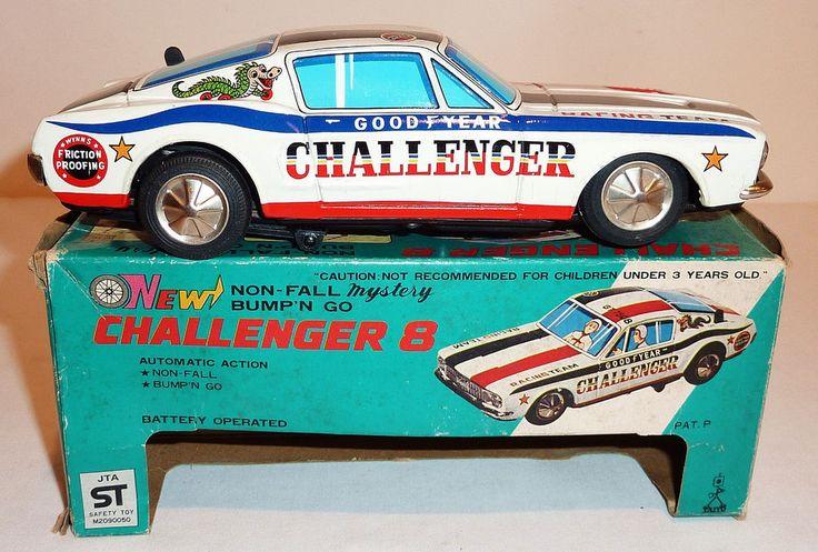 "TAIYO Japanese Tin Litho Batt Op 1960s FORD MUSTANG FASTBACK RACER / BOX ~ 7.25"" #Taiyo #FordMustangFastback"