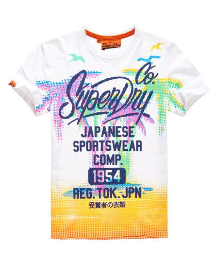 Shop Superdry Mens Palm Comp T-shirt in Optic. Buy now with free delivery  from the Official Superdry Store.