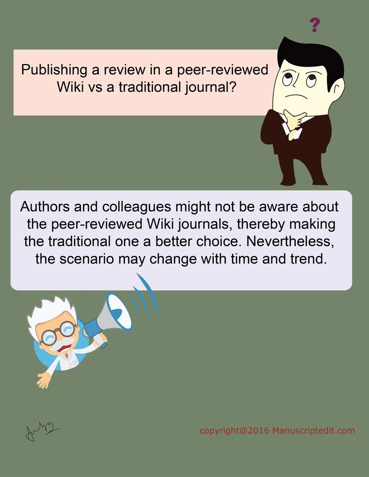 #Manuscriptedit @ Publishing a review in a peer-reviewed Wiki vs a traditional #journal?  #Authors and colleagues might not be aware about the #peerreviewed Wiki journals, thereby making the traditional one a better choice. Nevertheless, the scenario may change with time and trend.   #Manuscriptedit #peerreview : http://bit.ly/22eN8Vu