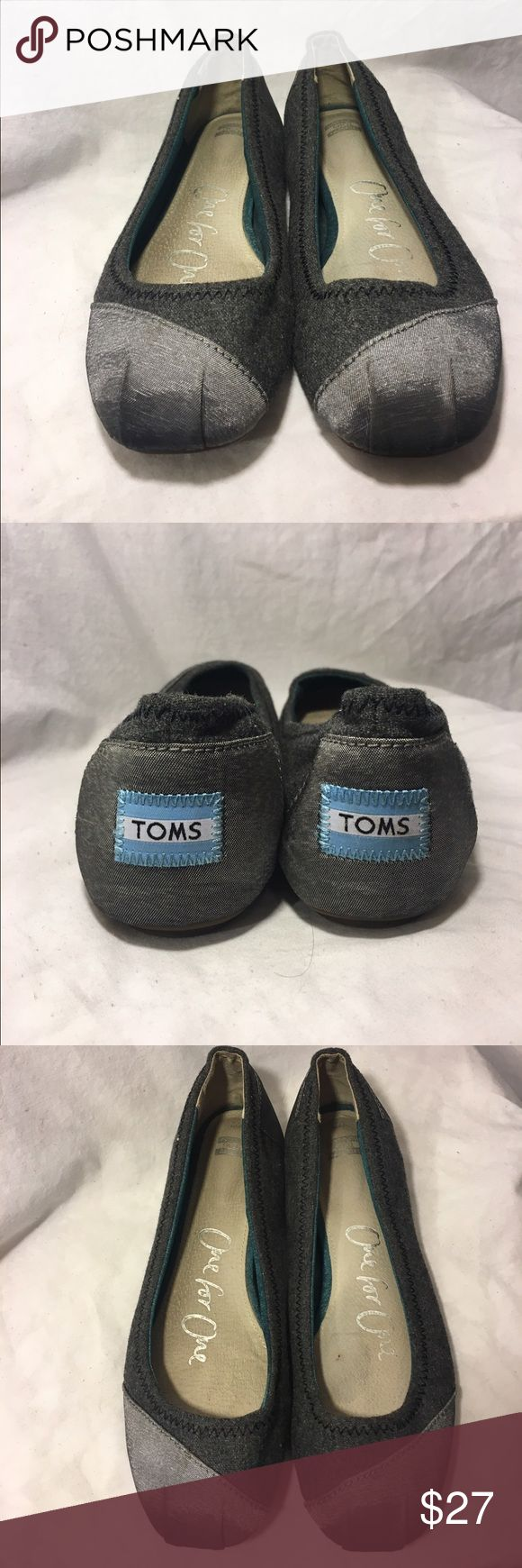 TOMS Grey Ballet Flats Slip On Shoe 7.5 Canvas Excellent used condition. Wear on the bottom but there are no stains or major issues. Very comfortable. TOMS Shoes Flats & Loafers
