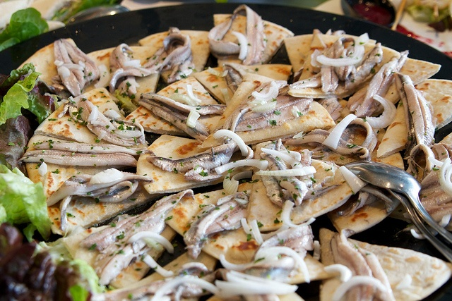 Anchovies on piadina triangles in Cesenatico, Italy. Tasty! #foodie #photo