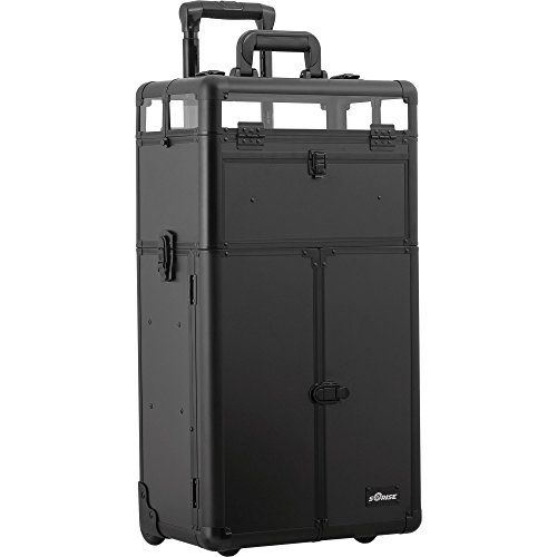 SUNRISE Nail Polish Organizer Case on Wheels 2 in 1 I31065, 54 Bottle Capacity, French Doors, 4 Drawers, Locking with Mirror, Black Matte >>> Find out more about the great product at the image link.