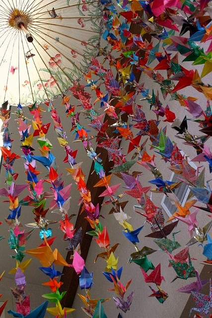 if you fold 1000 paper cranes and hang them up, you can make a wish and it's supposed to come true.