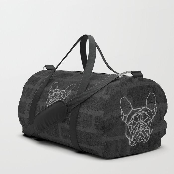 French Bulldog Duffle Bag. Brick wall texture with geometric graffiti spray of frenchie. #frenchbulldog #bulldog #geometric