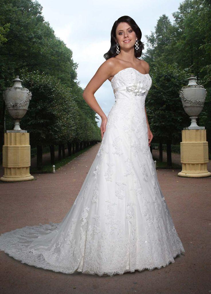 lace a line strapless bateau neckline corset back wedding dress