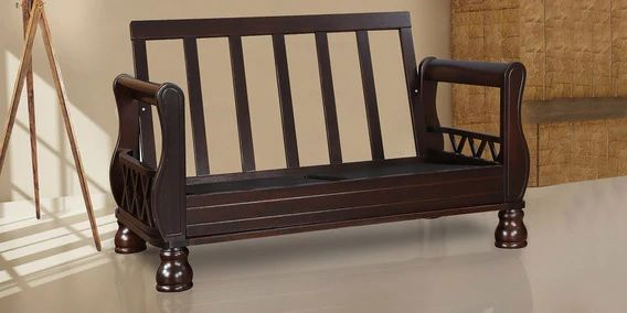 Clyde Solidwood Two Seater Sofa Without Cushion In Dark Cappuccino Colour By Hometown Wooden Sofa Designs Wooden Sofa Set Wooden Sofa