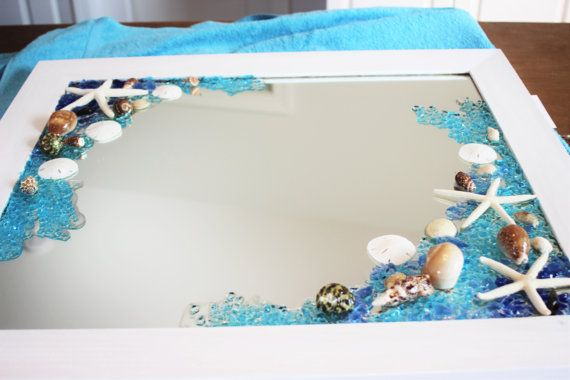 Vintage Beach MirrorSea Glass Beach by TerrysBeachArt on Etsy
