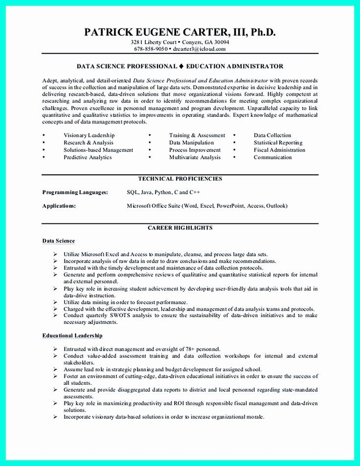 Data Analyst Resume Entry Level Fresh Data Scientist Resume Include Everything About Your Education Skill Qualifica Data Scientist Resume Examples Data Analyst