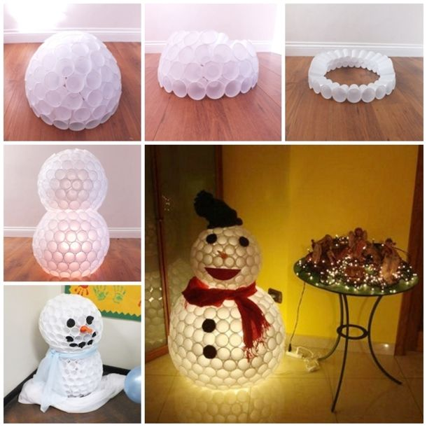 Here is a fun and inexpensive DIY Christmas craft snowman you can make with just plastic cups.  It makes a great Christmas decoration and is fun to make.