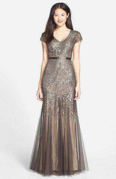 Women's Adrianna Papell Beaded Mesh V-Neck Gown, Size