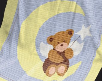 "Crochet Pattern - Baby Blanket / Afghan - ""Angel Bear"""