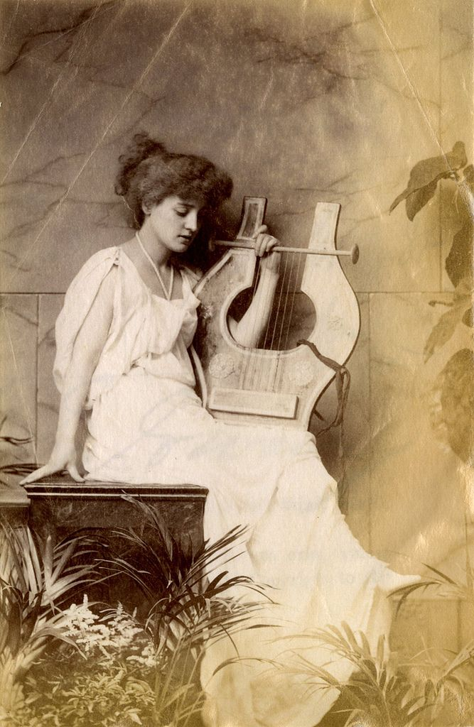 lillie langtry with lyre - 1885 (Mistress of King Edward, friend of Oscar Wilde)
